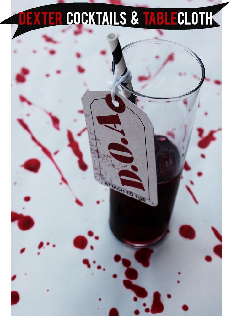 diy dexter party blood splattered tablecloth and cocktail from a little glass box here what i liked best about this post is the super cheap and easy way - Super Cheap Halloween Decorations
