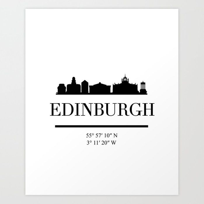 Edinburgh Scotland Black Silhouette Skyline Art Skyline Art Edinburgh Black Silhouette