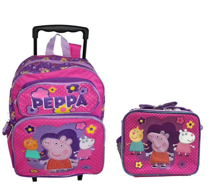 PEPPA PIG Roller Large Girls Rolling BACKPACK Bag Tote and LunchBox Set  #PeppaPig