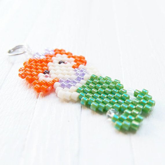 Seed Bead Mermaid Charm / Pendant, Brick Stitch Bead Weaving