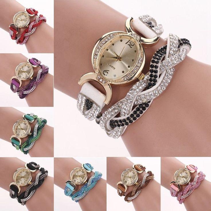 Vintage Kristall Lederarmbanduhr Armbanduhr Bracelet Armband Uhr Uhren Quarz Neu