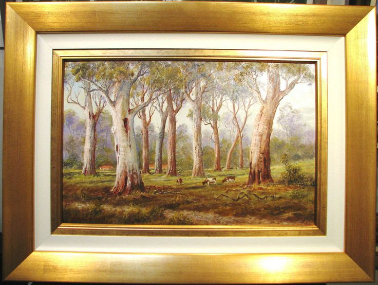 Ernest Dallimore original oil titled  Cattle Grazing in the tall Gums  Australia