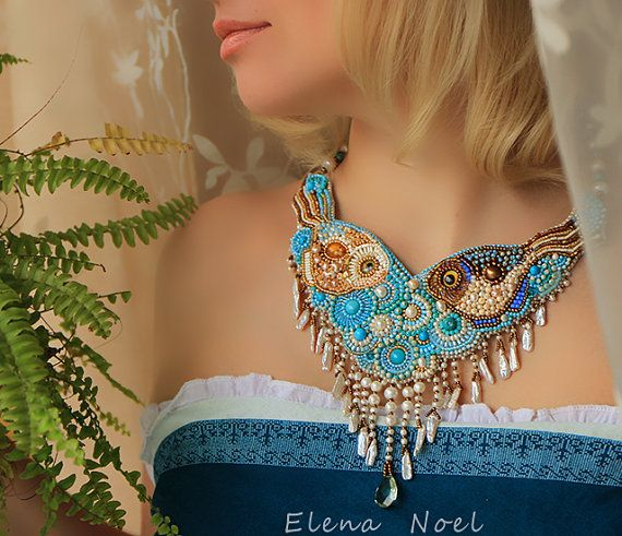 pearl necklace with two little fishes embroidered by ElenNoel