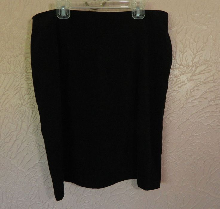 Womens Fashion Bug Black Skirt Size 14 Suede Feel Poly Spandex USA Zip Back…