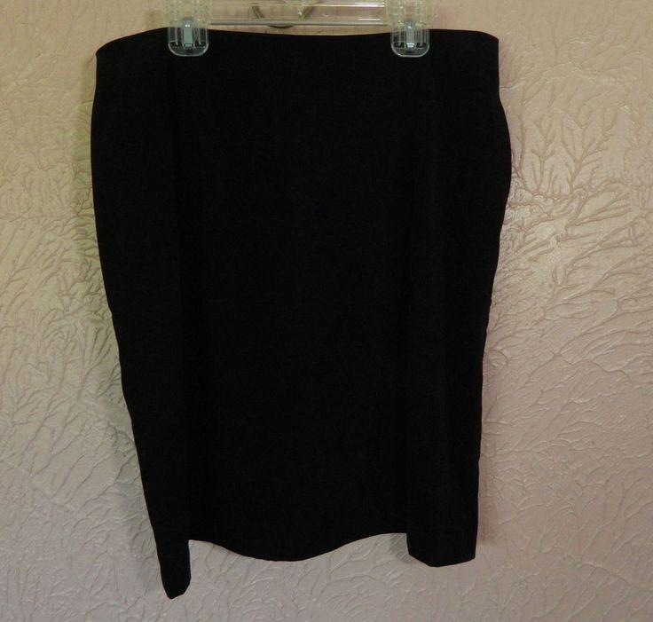 Womens Fashion Bug Black Skirt Size 14 Suede Feel Poly Spandex USA Zip Back…
