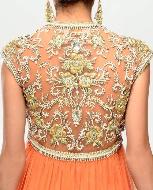 Striking orange anarkali, with intricate gold work down the back #indian #wedding