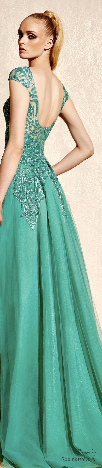 Aqua-marine, sleeveless gown with matching sequin detailing! ~ Zuhair Murad | Resort 2015
