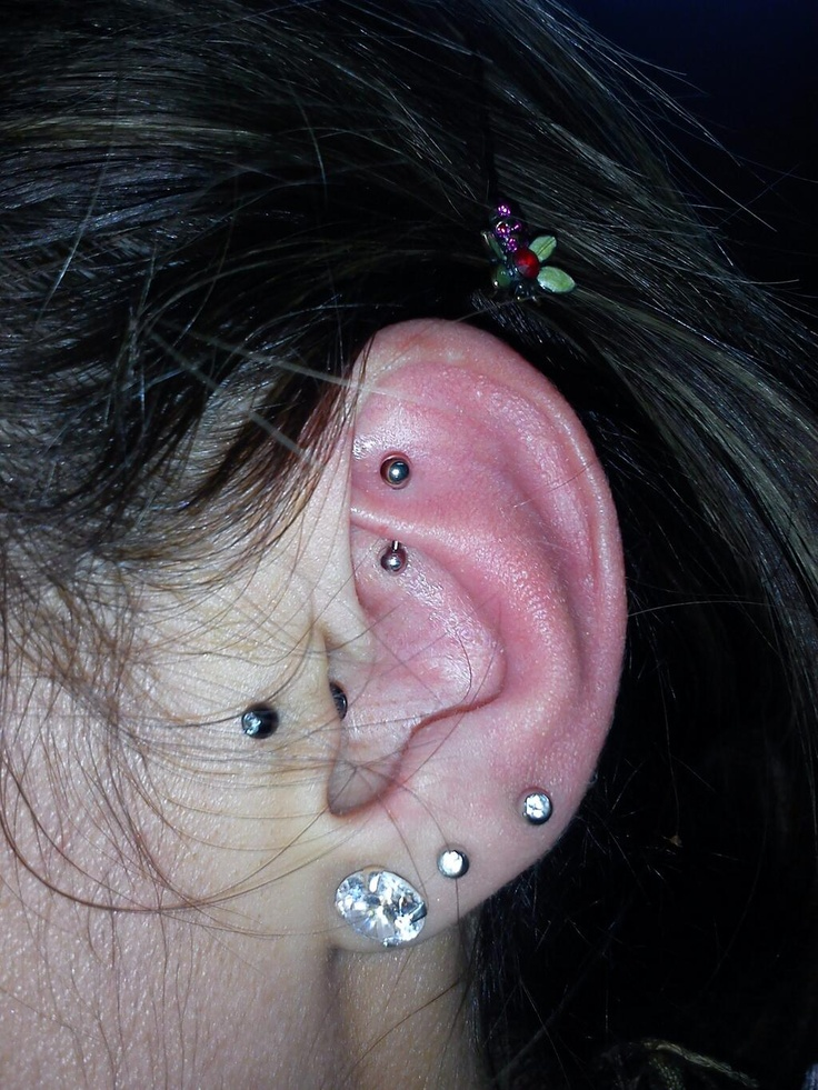Her ear looks awfully red but its probably a fresh piercing so thats  normal I like it though