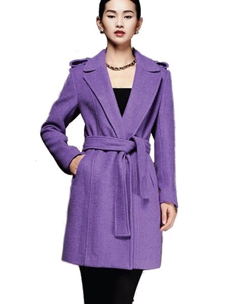 Elegant Winter Turn Down Collar Belt Long Wool Coats For Women