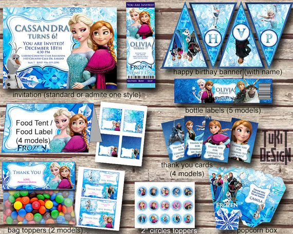 """Disney Frozen Party Kit BIRTHDAY party Printable - Invitation, favor tags, bottle labels, banner, 2"""" circles and more! - Digital File on Etsy, $18.00"""