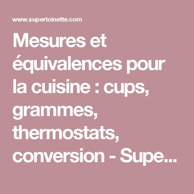 Mesures et équivalences pour la cuisine : cups, grammes, thermostats, conversion - Supertoinette
