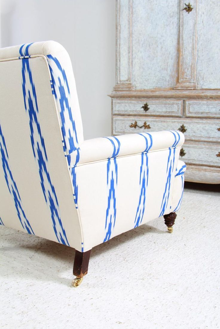 Turquoise ikat chair - English Country House Armchair In Ikat Fabric