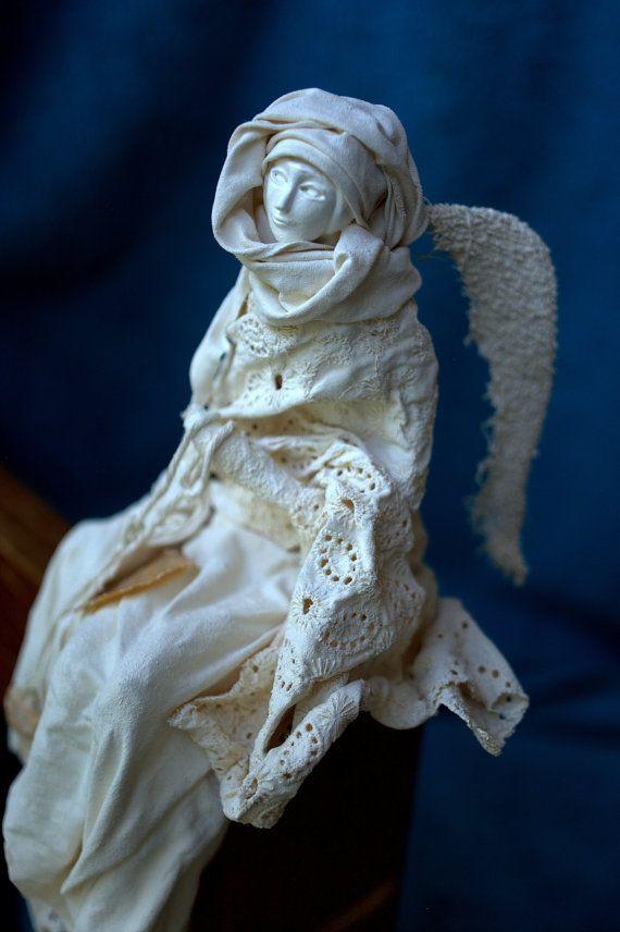 Dalia- sitting angel sculpture, original handmade gift, home decor, mother's day