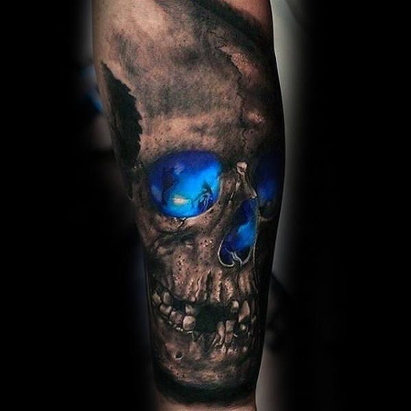 Mens 3d Skull With Glowing Blue Ink Design Guys Forearm Sleeve Tattoo Tattoosformen
