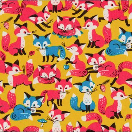 Cosmo canvas foxes ochre. Retro vosjesstof.