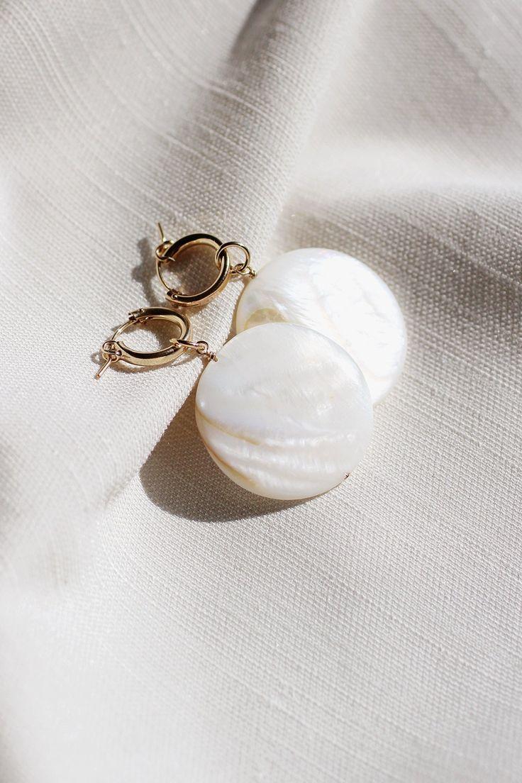 Grande Mother of Pearl Hoop Earrings - Christine Elizabeth