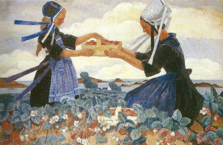 L'offrande des fraises, Peinture de Mathurin Méheut