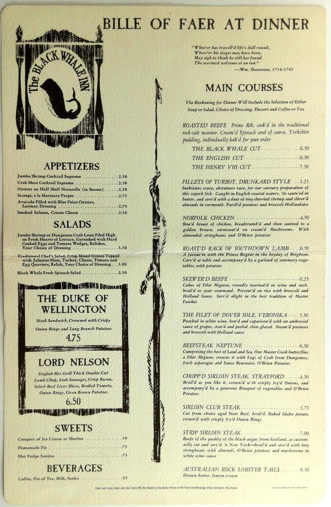 1973 Original Huge Dinner Menu The Black Whale Inn ...