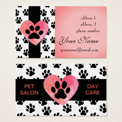 pet business paw print watercolor heart business card