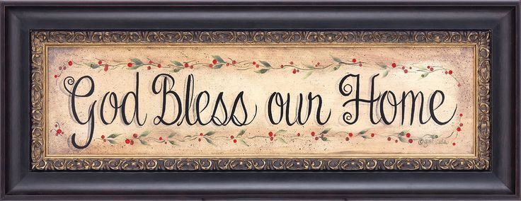"""God Bless our Home"" accented with Swarovski crystals"