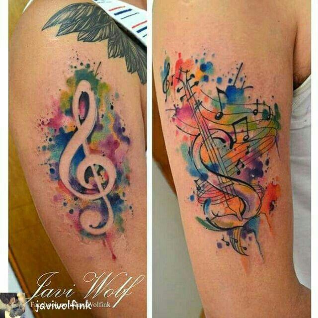 Javi Wolf music watercolour tattoo