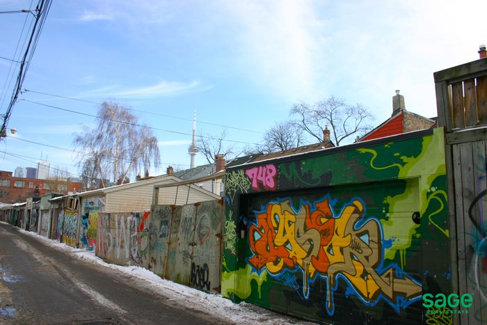 Graffiti Alley in Trinity Bellwoods, Toronto