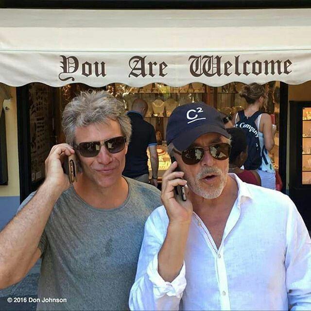 Jon Bon Jovi and Don Johnson (of Miami Vice) . @mariarufino63 | Instagram