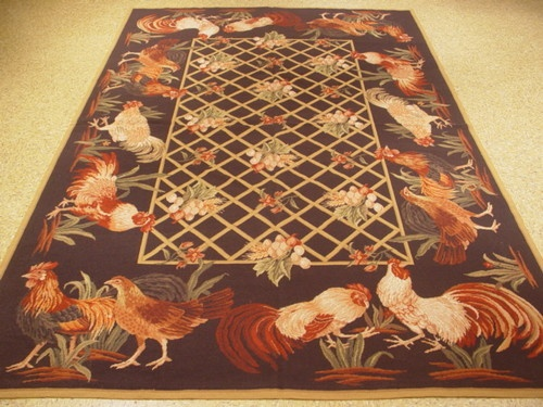 Pictorial Rooster Design 6x9 Tapestry Needlepoint Rug