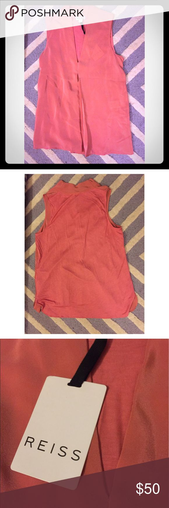 NWT Reiss Silk Blouse Coral/light pink vneck blouse. The front is 100% silk and the back 100% viscose. Size small but would also fit x-small. Reiss Tops Blouses