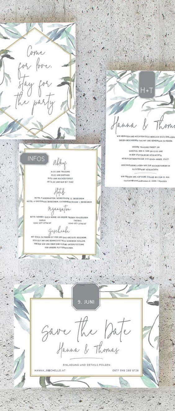 Hochzeitseinladungen Blatter Hochzeitskarten Hochzeit Trauung