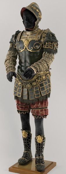 Bartolomeo Campi, Italian, died 1573, Roman-Style Armor Given to Philip II, Pesaro, 1546, embossed and gold- and silver-damascened steel; brass and fabric, Patrimonio Nacional, Real Armería, Madrid,