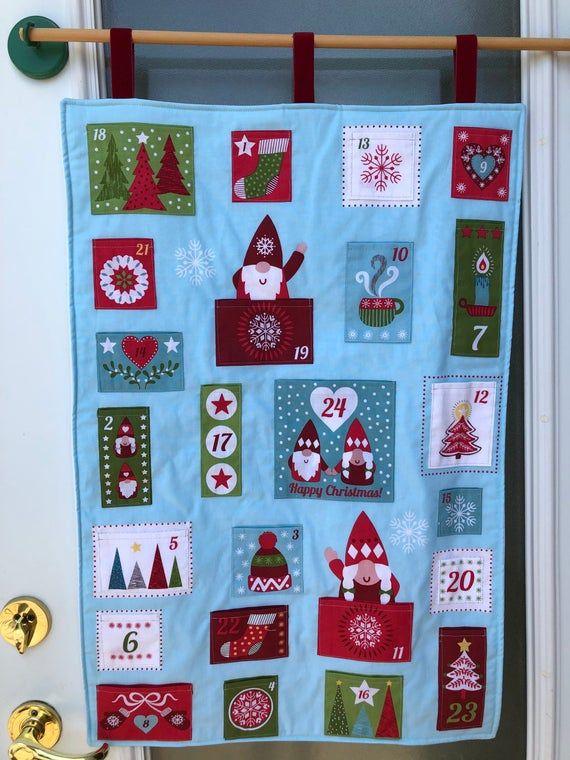 Advent Calendar With Pockets Scandinavian Christmas Gnomes Etsy In 2020 Fabric Advent Calendar Advent Calendar Gifts Christmas Advent Calendar