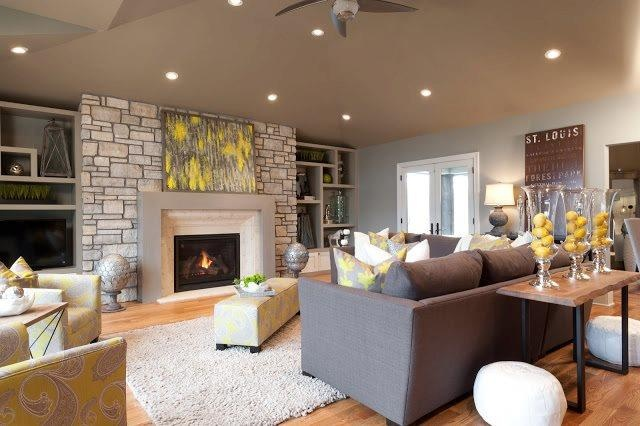 Yellow Brown And Grey Livingroom Family Rooms