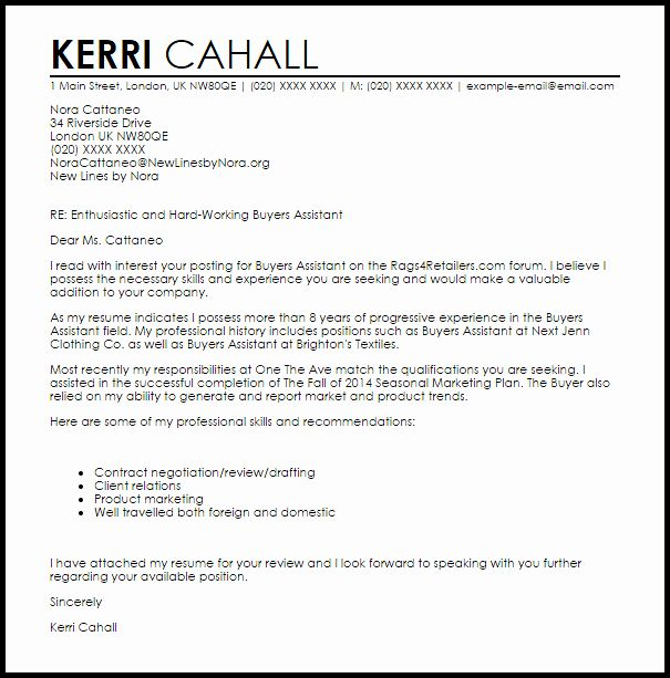 Sample Letter To Home Seller Awesome Buyers Assistant Cover Letter Sample In 2020 Cover Letter Template Free Letter Templates Professional Cover Letter Template