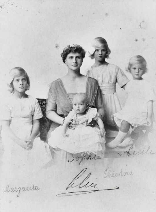Princess Alice of Battenberg with her four daughters: Princesses Margarita, Theodora, Cecilie, and Sophie.