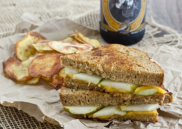 pear & sharp cheddar grilled cheese sandwich