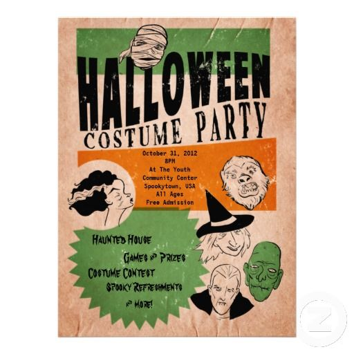 20 best halloween party invitation templates images on pinterest vintage style halloween costume party invite stopboris Images
