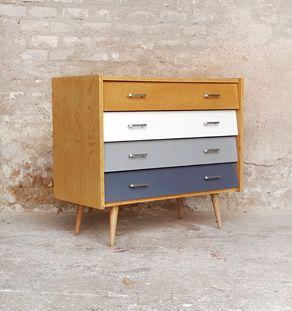 Commode vintage 4 tiroirs, chêne blanc et gris GENTLEMEN DESIGNERS // Mobilier vintage et création sur-mesure, fabrication française