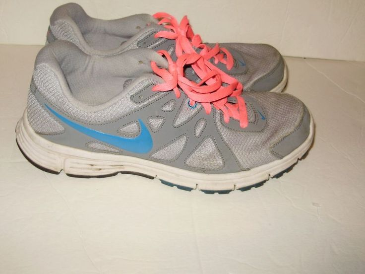 Nike Revolution 2 Womens Sneakers Shoes Size 11 Grey Turquoise Pink Laces A36
