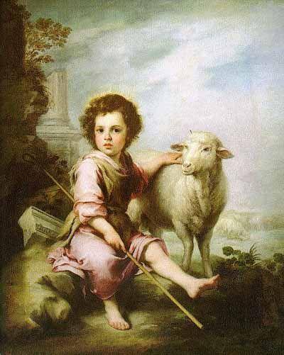 Arte Barroco Español, Bartolomé E. Murillo, 1665, Óleo sobre lienzo, Museo del Prado-España. La Iconografía del Buen Pastor no tendra repercusión en el arte medieval, en el Siglo de Oro se recuperara.