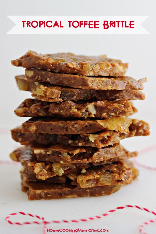 Tropical Toffee Brittle -- a crunchy candy loaded with dried pineapple, macadamia nuts, and coconut