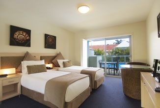 Studio Swimout twin room at Oaks Pacific Blue Resort, Port Stephens