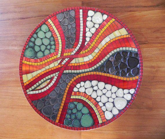 Mosaico arte plato mosaico rojo plato tazón de por NewArtsonline