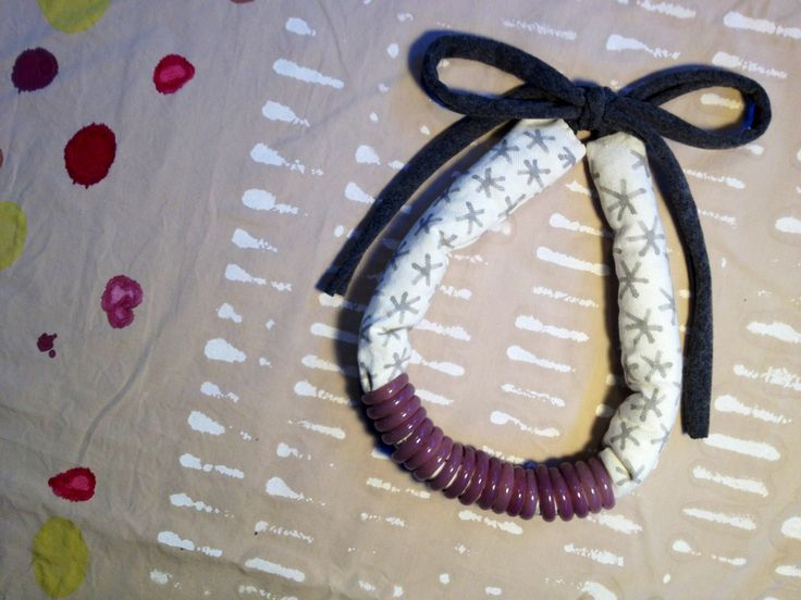 Handpainted necklace with glass rings.  by Tulip