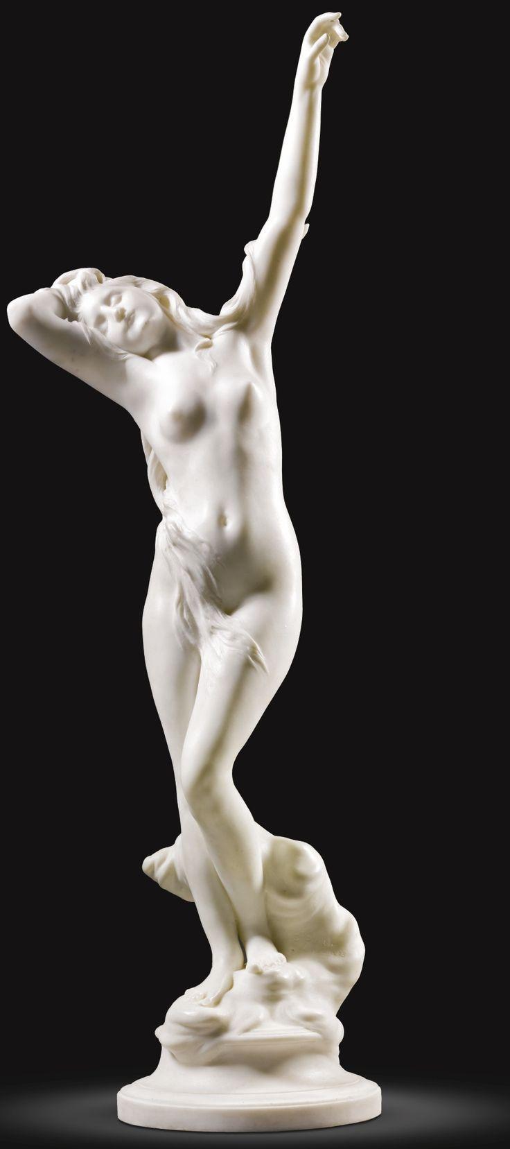 DENYS PUECH, 1893 FRENCH 1854 - 1942 LA NAISSANCE DE DIANE signed and dated: D.PUECH PARIS - 1893 white marble 112cm., 44 1/8 in.
