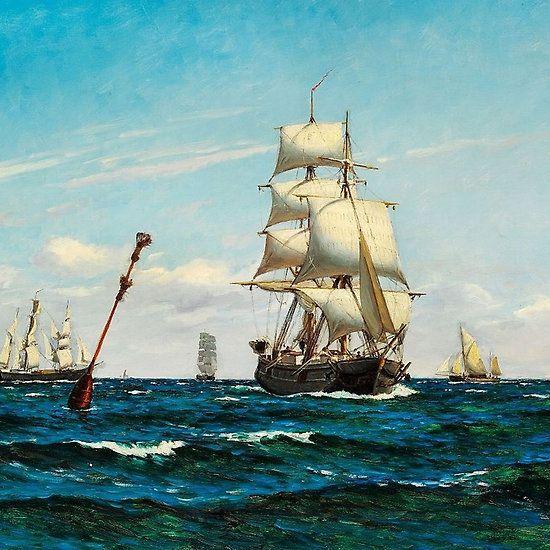 Carl Locher - Talrige sejlskibe på havet