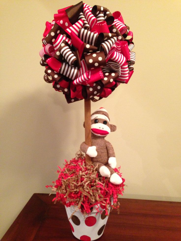 Sock monkey theme topiary