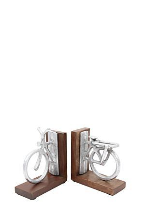 THE FANCIEST PEWTER BICYCLE BOOK STOPPERS EVER