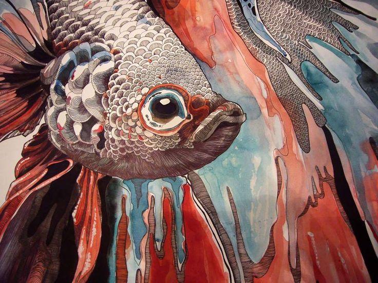 """""""Siamese fighting fish"""" """"Pesce combattente siamese""""  Watercolour, ink, Bic pen  70 x 50 cm"""