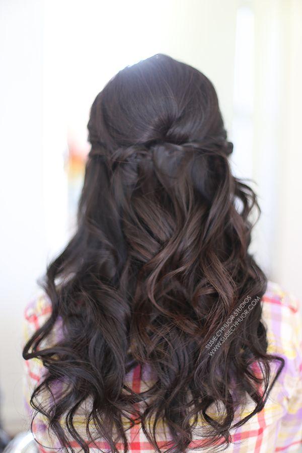 hair loose waves curls half up half down wedding hair prom hair asian hair brunette hair twist in hair susie chhuor